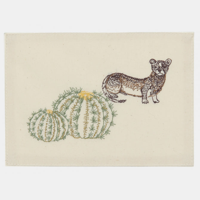 Weasel and Barrel Cactus Card