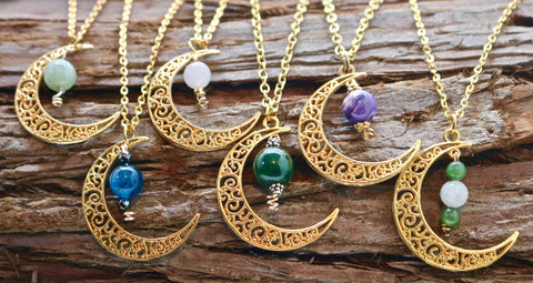 Gold Crescent Moon Necklace with Stone Beads