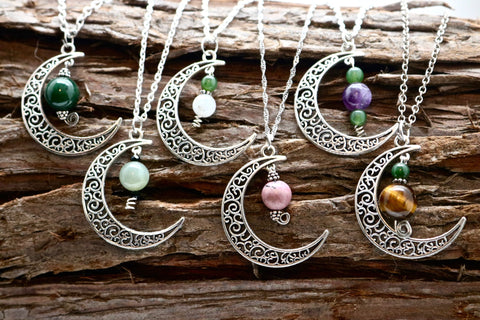 Silver Crescent Moon Necklace with Stone Beads