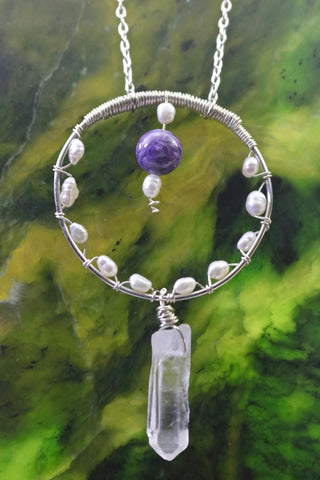 Charoite and Mother of Pearl Circle Pendant