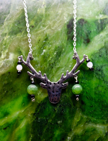 Antler Pendant with Jade, Moonstone, and Hematite