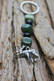 Stone Bead Animal Charm Keychains