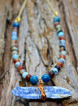 """Rainbow Kyanite Skies"" Agate Beaded Necklace"