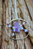 Amethyst Double Point Circle Pendant