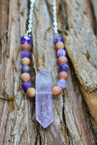 Double Point Amethyst Pendant