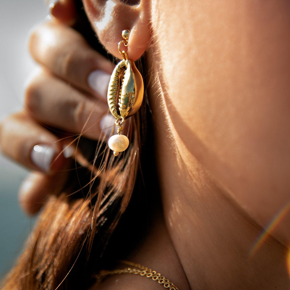Aretes Cowrie Shell