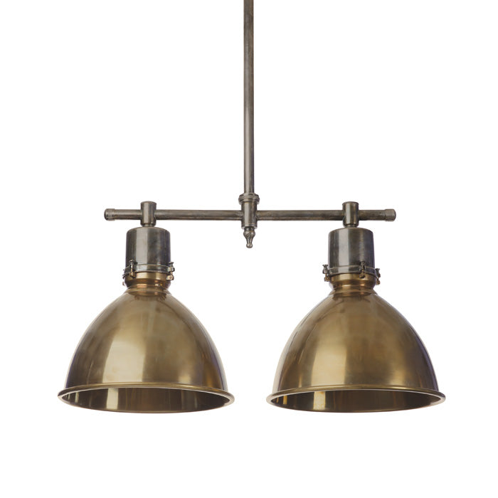 Double Pendant Light in Brass