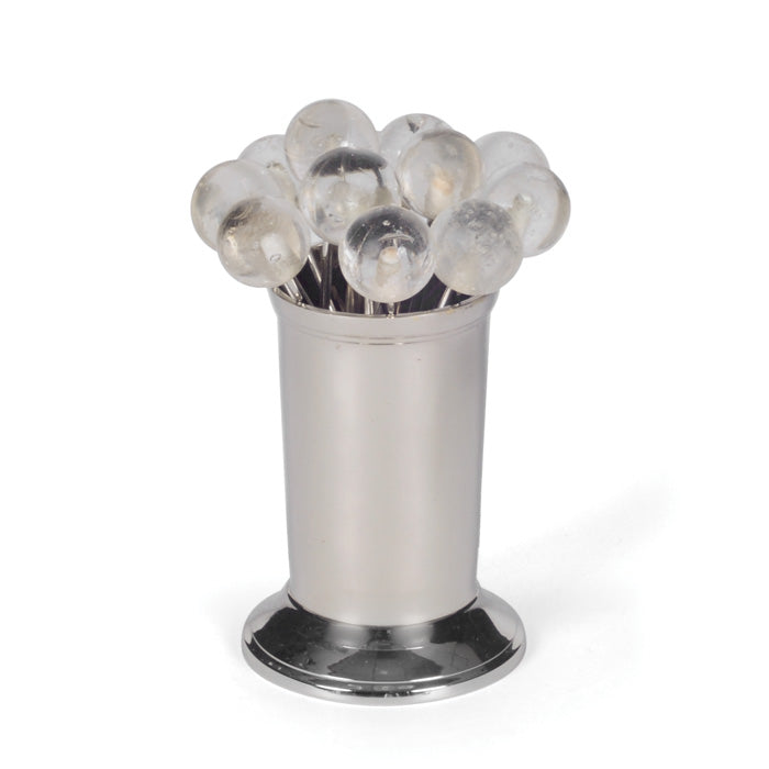 Set of 12 Clear Party Picks in a Polished Nickel Canister