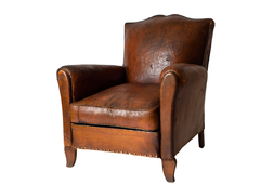 French Leather Club Chair, c1930