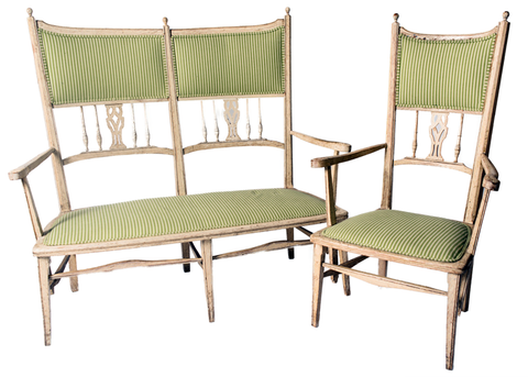 19th C. Swedish Gustavian Chair & Settee