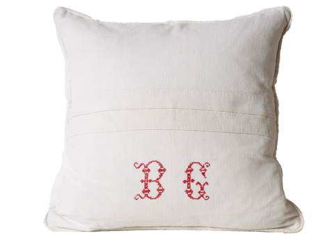 "Antique French Linen Pillow, Antique Monogram ""BG"""