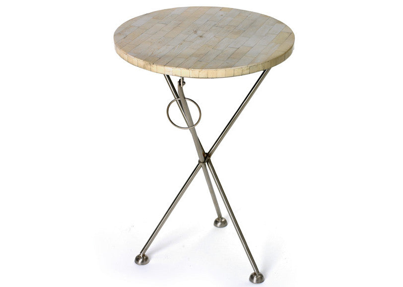 Bone & Nickel Folding Side Table