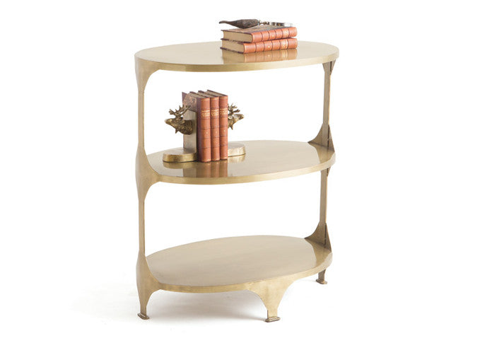 Hollywood Glam Brushed Brass Oval Side Table with Shelves