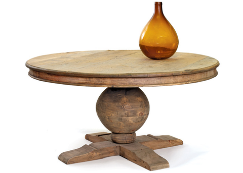 Chester Heights Round Pedestal Dining Table, Reclaimed Wood