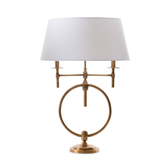 Circle of Aged Brass Library Desk Lamp
