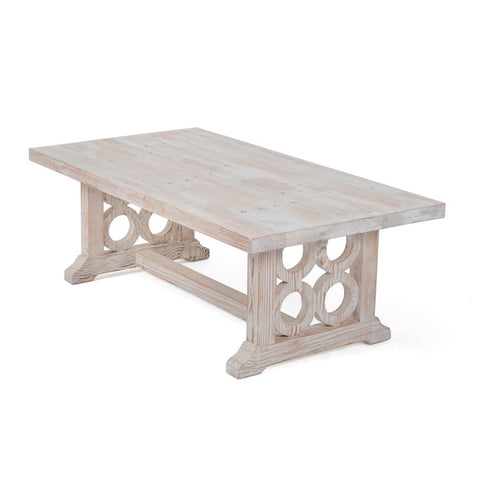 Farmhouse Whitewashed Wood Coffee Table