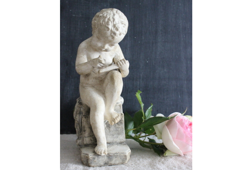 Vintage French Garden Statue of a Child Writing