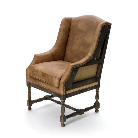 Leather Deconstructed Wing Back Chair