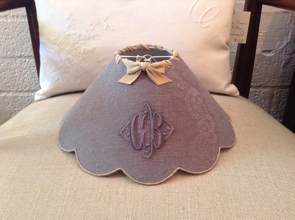 French gray blue monogrammed lamp shades fmf compagnie french gray blue monogrammed lamp shades mozeypictures Images