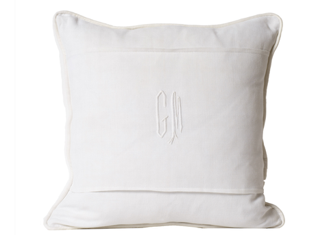 "Antique French Linen Pillow, Antique Monogram ""GM"""