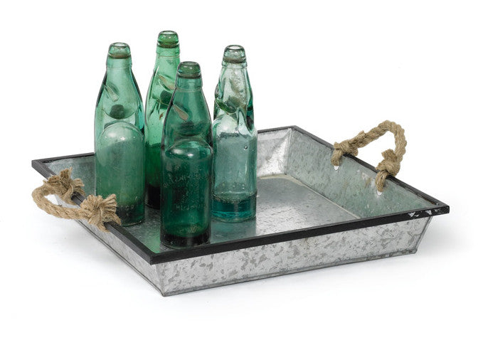 Farmhouse Galvanized Metal Serving Tray with Rope Handles