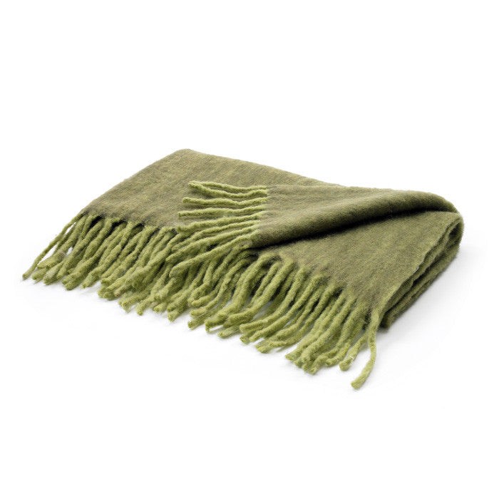 Two Tone Citrus Green Mohair Wool Blanket Throw