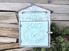 Charming Galvanized Embossed Bird and Floral Wreath Post Box