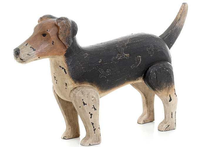 Hand-Painted Wooden Jack Russell Terrier Dog