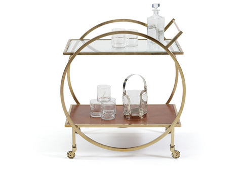 Jameison Brass & Leather Bar Cart
