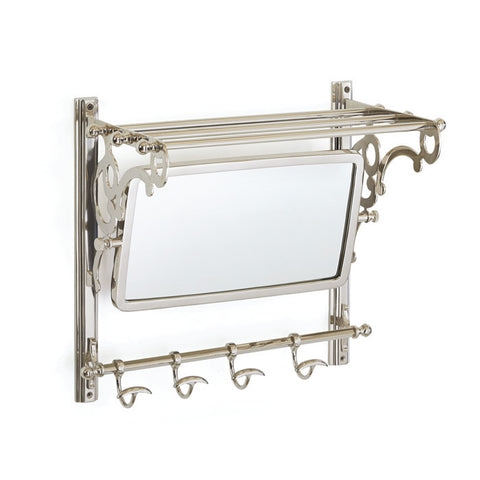 Polished Nickel Mirror and Towel Rack