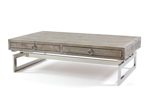 Magnolia Wood and Nickel Coffee Table