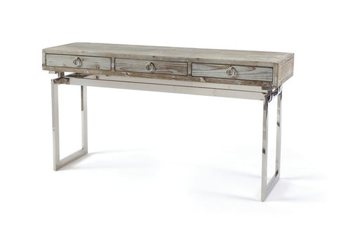 Magnolia Wood and Nickel Console Table