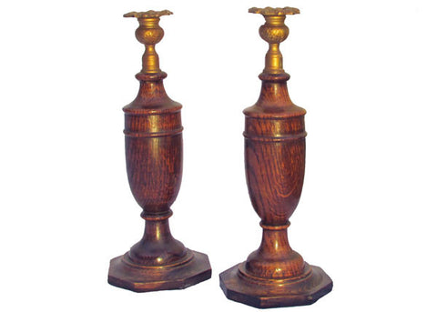 19th Century Oak Gilt Candlesticks