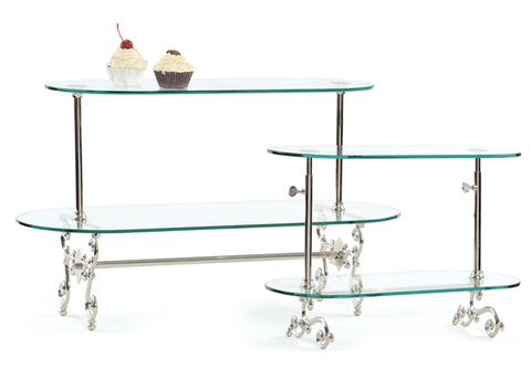 Polished Nickel and Glass Two-Tired Patisserie Stand, Small