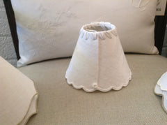 Petite Antique French Linen Lamp Shade