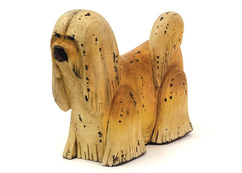 Cute as a Button Hand-Painted Wooden Shaggy Dog