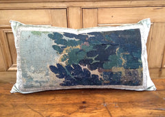 Antique Verdure Tapestry and Velvet Pillow