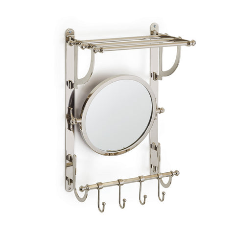 Train Polished Nickel Mirror and Towel Rack