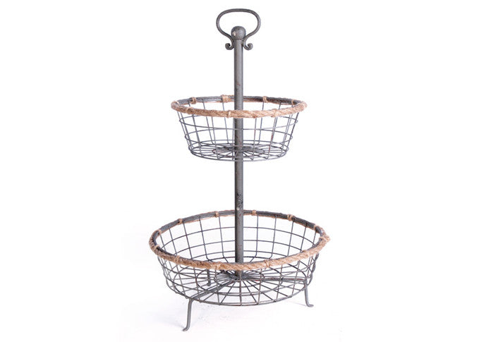 Two-Tiered Wire Bakery Stand