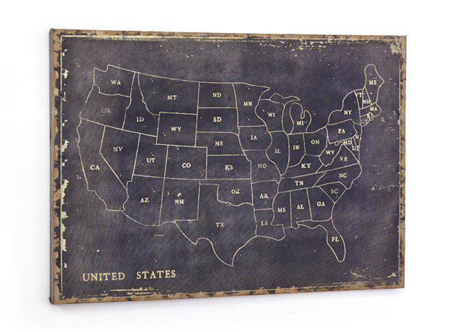 Black Canvas Chalkboard Map Maps Of The United States Fmf