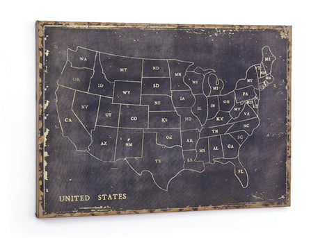 "Black Canvas ""Chalkboard"" Map, Maps of the United States"
