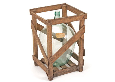 Antique Demijohn in Wooden Crate