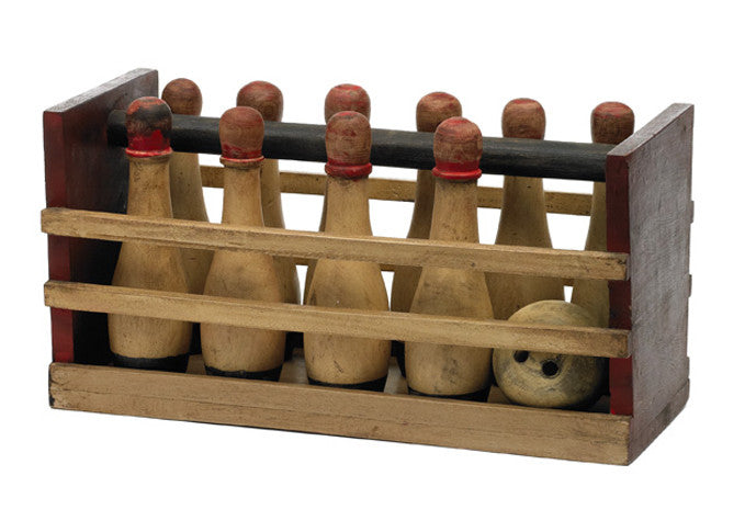 Hand-Painted Wooden Bowling Set in Carrier Trug