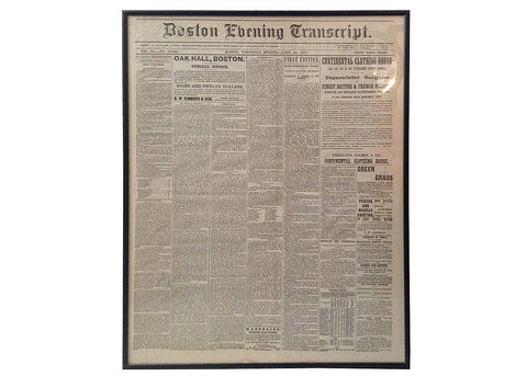Antique Civil War Era Framed Newspaper