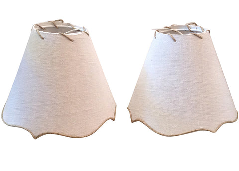 Petite Antique French Linen Lamp Shade, Two Available