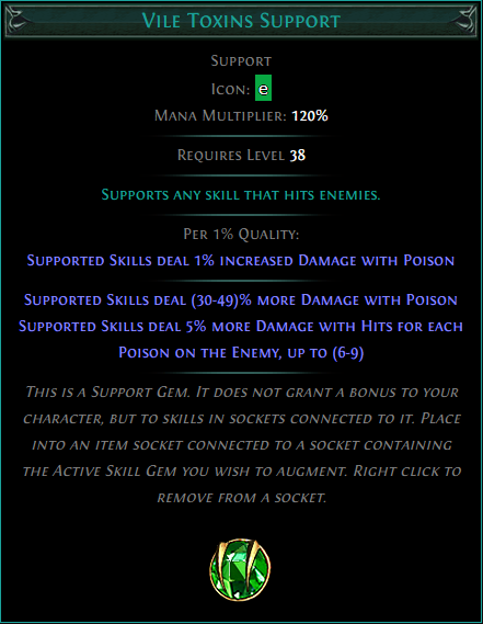 Buy POE | Vile Toxins Support at We Grind Games
