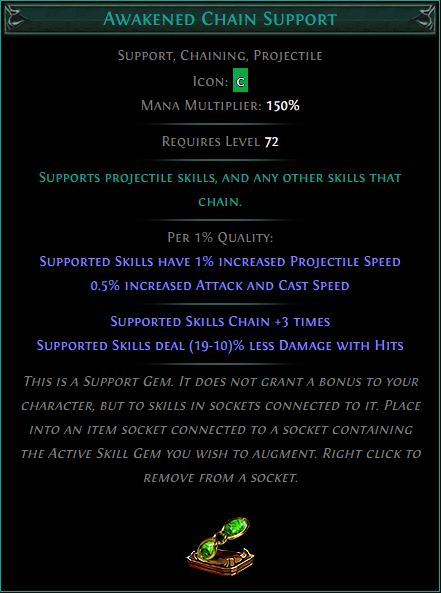 Buy POE | Awakened Chain Support at We Grind Games