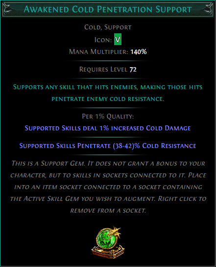 Buy POE | Awakened Cold Penetration Support at We Grind Games