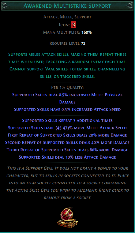 Buy POE | Awakened Multistrike Support at We Grind Games