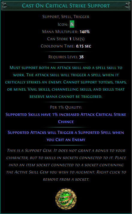 Buy POE | Cast On Critical Strike Support at We Grind Games